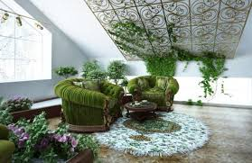 Inclined wall decoration with house plants