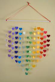 rainbow heart mobile wall hanging nursery mobile baby shower decor gift new baby gift rainbow nursery playroom wedding gift