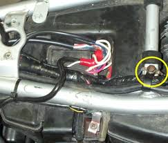 mark s klr650 website 12v outlet run a negative wire to a good ground of your choice the image above shows in the yellow circle that i ve got the ground from that bolt going into the
