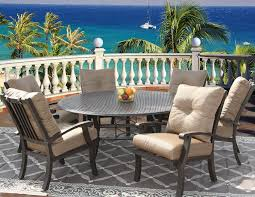 barbados cushion outdoor patio 7pc dining set for 6 person with 71 round table series 5000 antique bronze finish