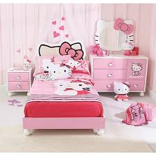 kids bedroom for girls hello kitty. Bedroom : Kids Design With Pink Hello Kitty Comfort Bed And White Pillow Near Small Nighstand Also Modern Dresser Cute For Girls P