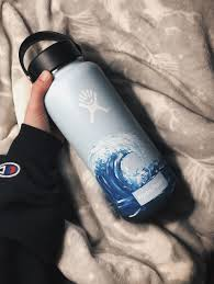 Light Blue Hydro Flask I Painted Pretty Waves On This Baby Blue Hydroflask And It