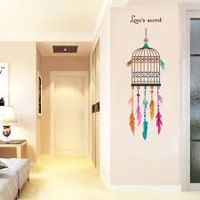 cartoon bird cage feather wall sticker wallpaper home decor kids