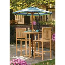 home patio bar. Outdoor Patio Bar Height Bistro Set Made Of Oak Wood In Natural Polished Combined With Vinyl Home O