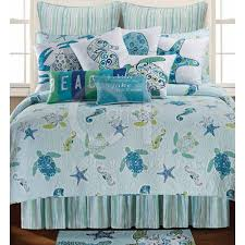 p this coastal theme quilt features sea turtles seahorses starfish in shades