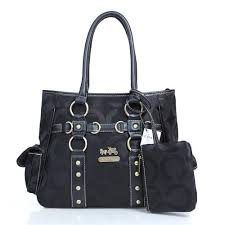 Coach Stud In Signature Medium Black Totes DZG