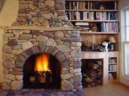 French White Bookcase Log Cabin Stone Fireplace Rustic Stone .