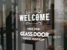 free glass door logo mockup psd