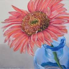 gerbera painting gerbera daisy with blue glass by joanne grant