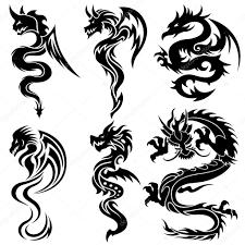 китайский дракон тату набор китайских драконов тату векторное