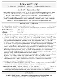 sample resume medical practice administrator free resume