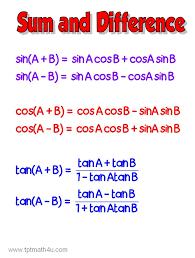 trigonometry precalculus sum and difference formulas activities
