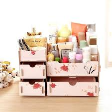 modern wooden cosmetic organizer colorful makeup for stationery jewelry drawer rectangle storage box diy