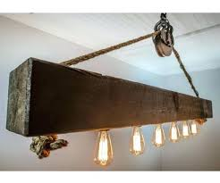 beam chandelier rustic wood beam chandelier with bulbs rope and pulley rustic wooden beam industrial chandelier