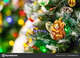 Old Fashioned Christmas Tree Light Bulbs Fir Tree Decorated Shiny Old Fashioned Toys Light Bulbs