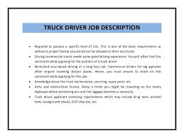Truck Driver Job Description Examples