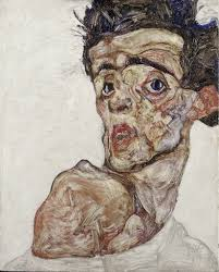 Egon Schiele | Self Portrait with Raised Bared Shoulder (1912) | Artsy