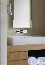 Bathrooms:Small Bathroom With Solid Wooden High End Vanity Feat Towel  Storage Also Small Mirror