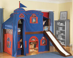 interior ideas amazing schemes of tents showing blue castle tens with white and brown wood slide