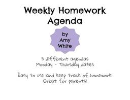Homework Agenda Printable Printable Weekly Homework Agenda