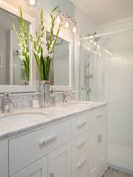 white bathroom cabinets with granite. molding backsplash inspiration --- bathroom with stacked wall tiles white vanity and marble counter top, hex mosaic tile backsplash, sliding glass shower cabinets granite u