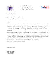 Sample Application Letter For Teacher 1 Position In The