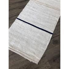 25 x 10 hemp vintage navy blue stripe handmade kilim rug runner