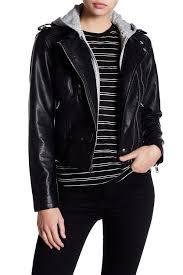bnci by blanc noir fleece hood textured faux leather moto jacket black leather faux leather