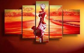 abstract art african girl sunset painting canvas painting wall art large