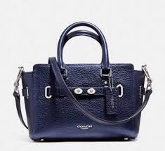 Coach Metallic Bubble Leather Mini Blake Carryall Crossbody Bag Navy
