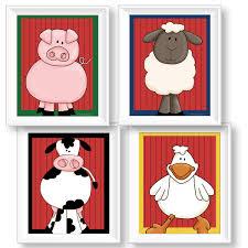 old macdonald s farm kids 8 10 barnyard animals wall art prints by pickleberry kids