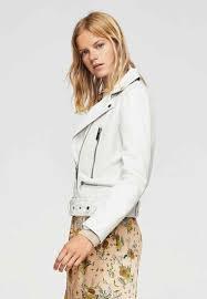 mango sophie leather jacket off white for women