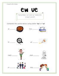 Word beginning and ending worksheets. Ew Ue Worksheet