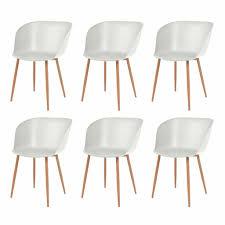 Kunststoffsitz Weiß Stk Esszimmerstühle Stahlbeine 6 O1p7