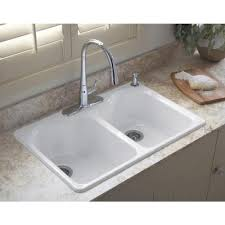 Small Picture KOHLER Hartland Drop In Cast Iron 33 in 4 Hole Double Basin