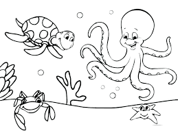 Sea Animals Coloring Ocean Pages Of Simple Animal Easy For Kids Oc