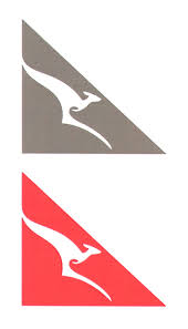 kangaroo silhouette leaping indents triangle is tailplane logo by qantas airways limited