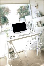 Ghost office chair Smoke Ghost Chic Office With White Sawhorse Desk Kartell Ghost Chair And White Floating Shelves Digitalscratchco Kartell Ghost Chair Design Ideas