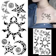 Amazoncom Oottati Assorted Temporary Tattoos Star Moon Sun Black