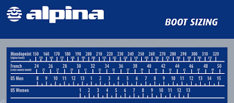 Alpina Cross Country Boot Size Chart Best Picture Of Chart