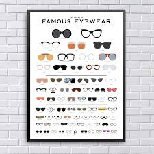 Chart Of Famous Eyewear The Chart Of Famous Eyewear Art Oil Painting Poster Prints