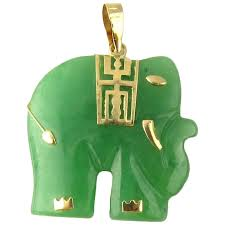 vintage 14 karat yellow gold and jade elephant pendant gold and silver brokers ruby lane