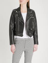 theory women s black cropped leather biker jacket