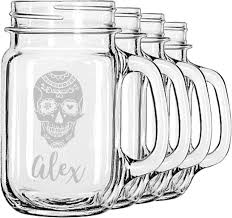 sugar skulls flowers mason jar mugs set of 4 personalized
