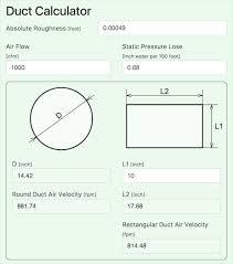 Hvac Cfm Air Flow Chart Online Ductulator Duct Size Calculator Ductcalc Online