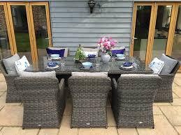 rattan dining room set. oakita venice luxury grey rattan garden or conservatory 8 seat rectangular dining furniture set: amazon.co.uk: kitchen \u0026 home room set