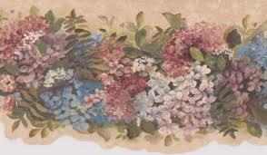 Flower Wall Paper Border Blue Pink White Flowers On Vine Beige Floral Wallpaper Border Retro