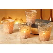 glass votive tealight candle holder peach
