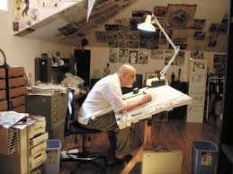 drawing board and art equipment pictured is george perez the comic book artist i art drawing office