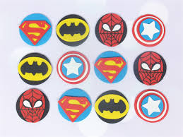 12 X Edible Superhero Cupcake Toppers Sweet Party Treats Madeit
